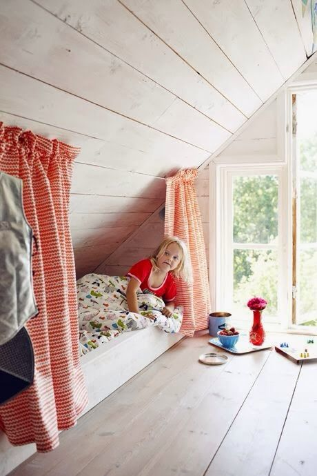 Attic bedroom - built-in beds under the eaves