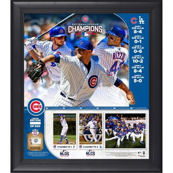 """Chicago Cubs Fanatics Authentic Framed 2016 MLB National League Champions 15"""" x 17"""" Collage with a Piece of NLCS Game-Used Ball"""