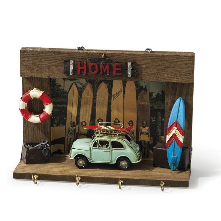 FIAT 500 vintage tin toy on a wooden key rack hook holder frame