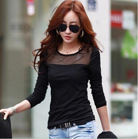 Pas cher Corée nouvelle mode féminine automne dentelle Mesh Patchwork manches  longues T chemises, Noir