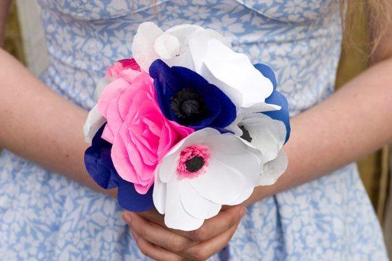 Paper Flower Bridal Bouquet / Bridesmaids Posy / Alternative Bouquet / Anemone Bouquet / Wedding Bouquet / UK / Navy, Pink and White