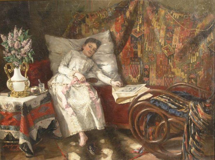 Aleksander AUGUSTYNOWICZ ,Odpoczynek, 1890, olej, płótno, 69.5 x 92,5 cm