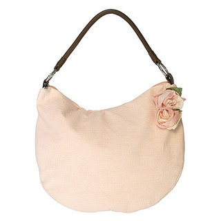 This divine new bucket bag features a stylish leather handle, is made from summery 100% cotton linen with satin lining.