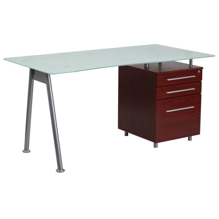 Flash Furniture Black Glass Computer Desk with Three Drawer Pedestal - NAN-WK-021A-GG