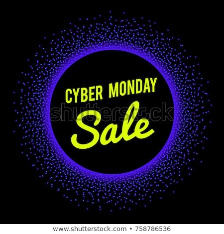 Neon sale technology banner for Cyber Monday event. Vector graphic template with halftone dots burst