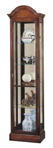 The Gilmore Display Cabinet by Howard Miller is finished in a lightly distressed Windsor Cherry on select hardwoods and veneers and features a gracefully arched bonnet and full length glass locking door to secure your collectibles(not beveled as shown). START RETARGETER Multiply Your Sales on... more details available at https://furniture.bestselleroutlets.com/accent-furniture/display-curio-cabinets/product-review-for-howard-miller-680-145-gilmore-curio-cabinet/