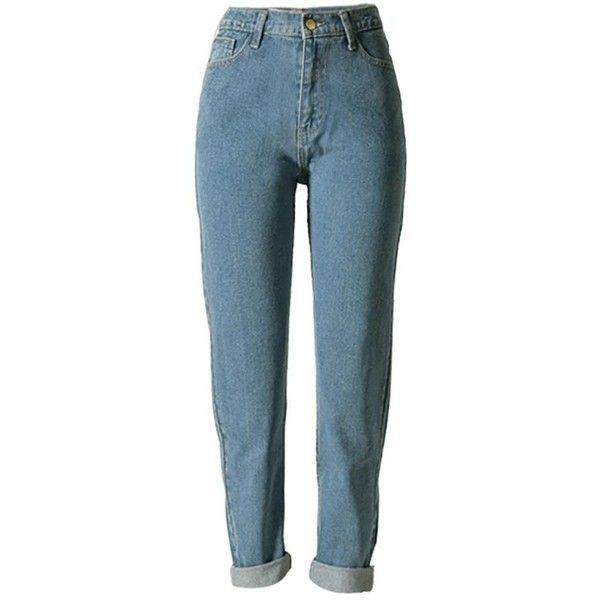 Betusline women Fashion Loose High Waist Straight Jeans Denim Pants... (890 PHP) ❤ liked on Polyvore featuring jeans, high waisted blue jeans, high-waisted jeans, boyfriend fit jeans, blue jeans and high rise boyfriend jeans
