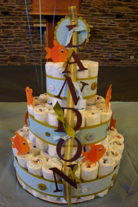 fishing themed baby shower | My mom had a special cake made that matched everything!