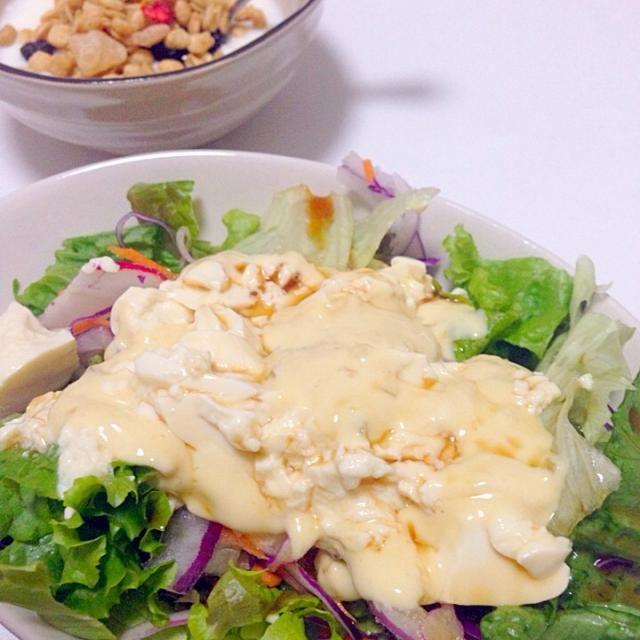 タルタルソースに豆腐を混ぜてドレッシングがわり!ちょっとはヘルシーかな? - 15件のもぐもぐ - 豆腐タルタルサラダ by zimakarie