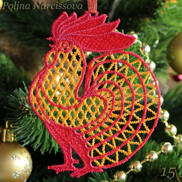 Петушок, машинная вышивка. Дизайн Polina Narcissova