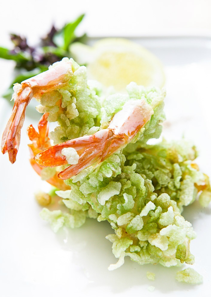 A Lunar New Year Dinner dish : King prawns rolled in new season green rice.  You have to try these