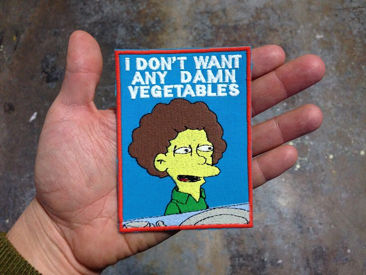 I don't want any damn vegetables Patch / Embroidered / Badge by NewWoodsman on Etsy https://www.etsy.com/listing/224981341/i-dont-want-any-damn-vegetables-patch