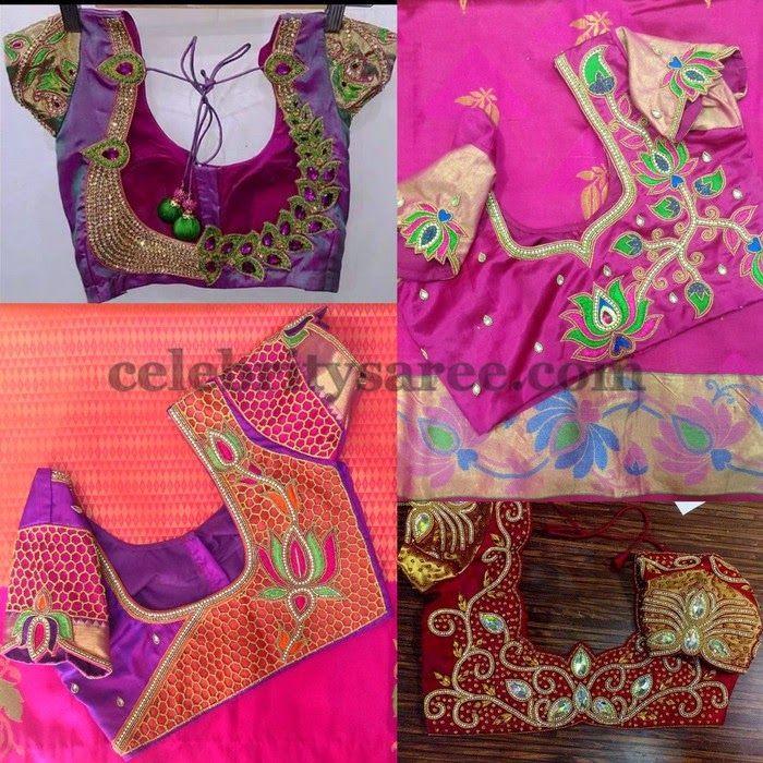 d7eac5610462f2 Lotus Design Blouses for Silk Saris | Heavy work bridal blouse designs | Blouse  designs, Saree blouse patterns, Blouse