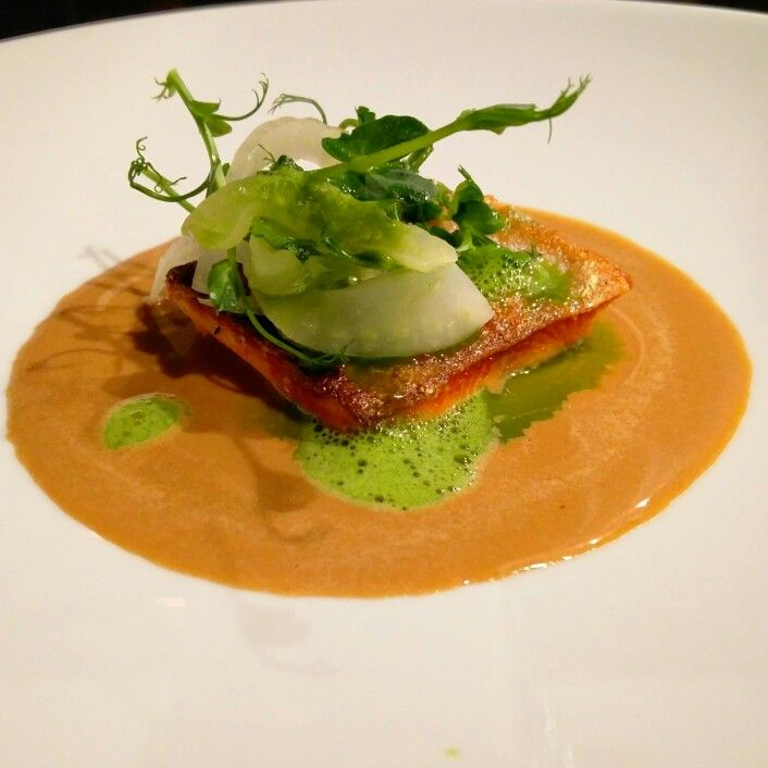 Fish tasting course.  Seared rainbow trout.  Lobster bisque.  Pressed fennel & fennel froth #eatlocal