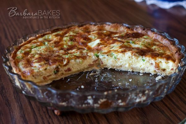 Quiche Lorraine comes together in a snap in the morning using a pre-made pie crust, precooked bacon, shredded cheese and green onions. When I asked my husband what he wanted for breakfast the ne...