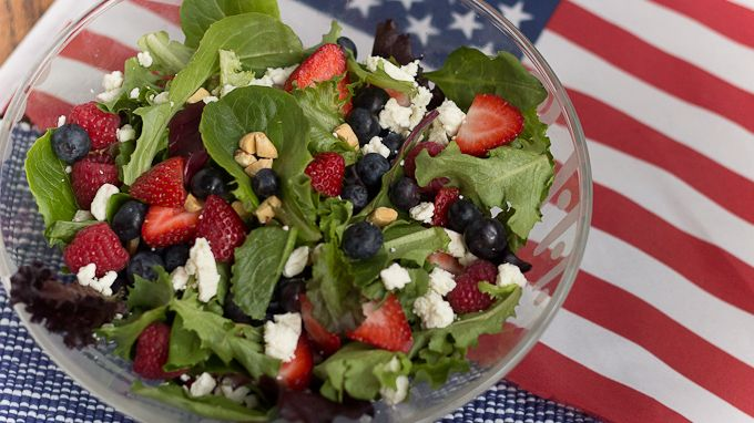 Red, White and Blueberry Salad perfect for fourth of July or any summer gathering from Aviva Goldfarb, The Six O'Clock Scramble, @PBS Parents