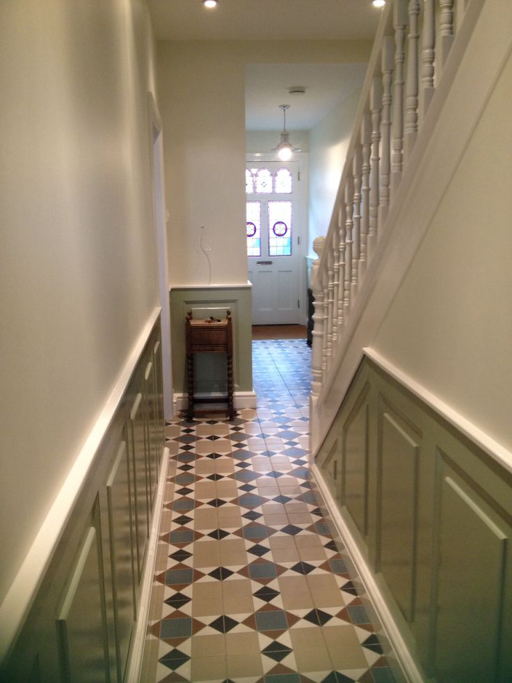 Our hallway | Grosvenor floor tiles (Topps Tiles) | James White & Vert De Terre paint (Farrow & Ball)
