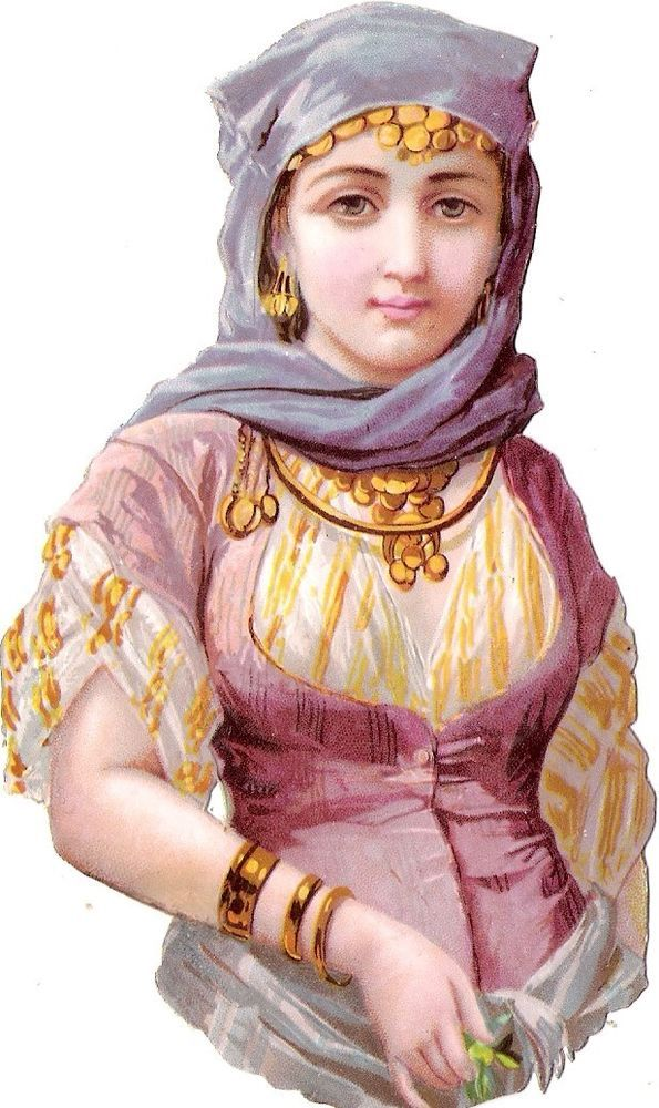 Oblaten Glanzbild scrap die cut chromo Dame 13,4cm lady femme national costume: