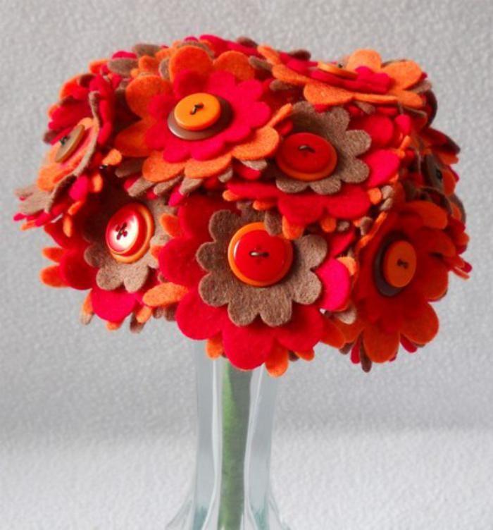 fleurs en feutrine, bouquet diy en feutrine