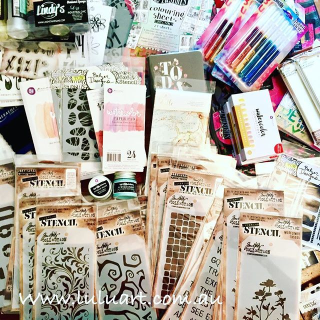 Christmas is here again at Lulu Art.  #luluart #stockarrival #artsupplies #luluartstore #kyliefowler #prima #ranger #artstore #australia  #tim #holtz #mixedmedia #drawing #painting #paint #stencils #stamps #watercolours #journals #artjournal