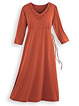 """""""I love the color and fit, I had wanted this dress and finally bought it. I am glad I did."""" ~ from Alabama about our Soutache-Trim Knit Dress from Blair"""
