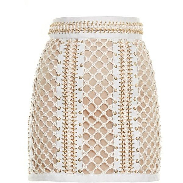 Balmain Lace-up leather mini skirt ($8,816) ❤ liked on Polyvore featuring skirts, mini skirts, ivory skirt, winter white skirt, leather miniskirt, body con skirt and short mini skirts