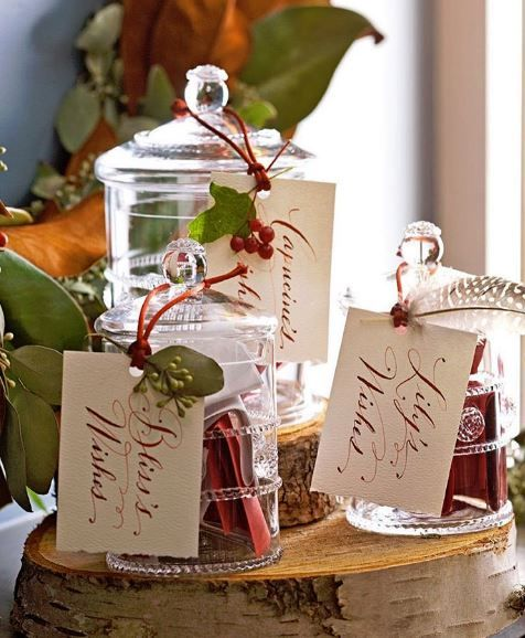 """What are you wishing for this holiday season? Our Bohemian glass canisters double as beautiful Wish Jars. We keep ours out permanently for gifting inspiration all year long. One peek inside and you'll find the perfect present from """"peace on earth"""" to a """"baby brother!"""""""