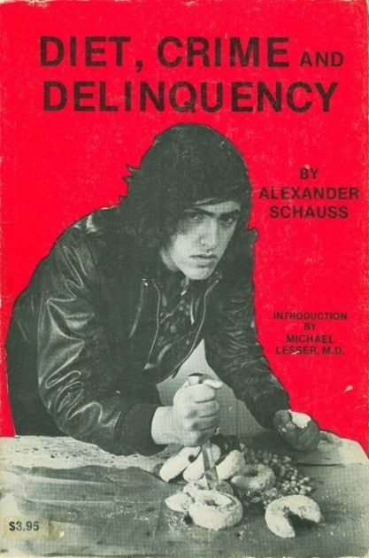 "Diet, Crime, and Delinquency - What did those poor donuts ever do to that teenaged hoodlum? This one should be paired with the lovely fictional, ""Die You Donut Scum""."