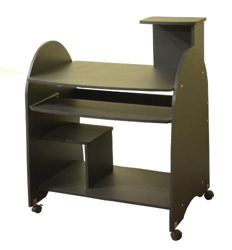TMS Computer Workstation, Black by TMS. $69.00. Computer workstation. Black finish. Casters for easy mobility. Turn your small home office into a functional work place with this Black Computer Workstation. The shelves are great for storing stationary, CPU or supplies. It is constructed of engineered wood, and powder coated steel frame. It measures 31-1/2-inch deep by 23.6-inch wide by 39-inch high. Requires some assembly.
