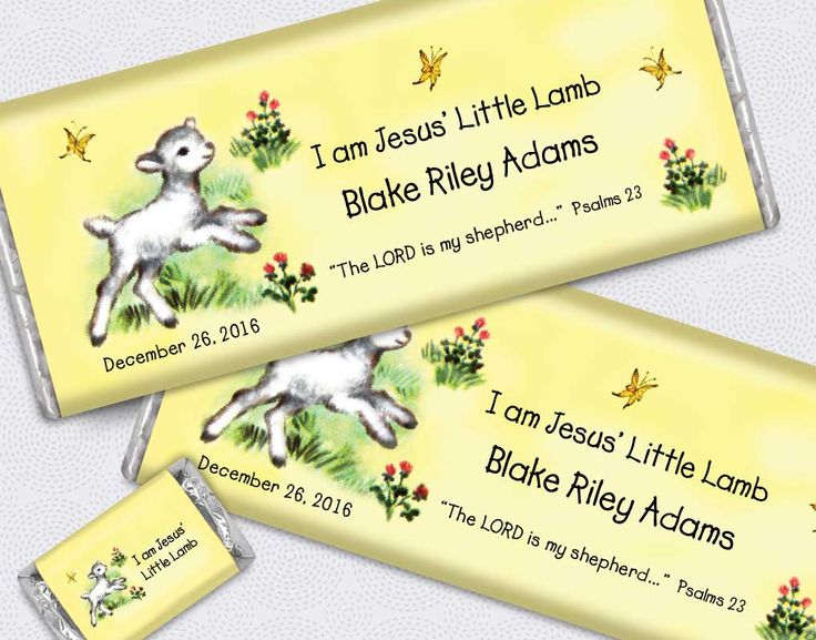 Personalized candy bars with a little lamb theme for your child's baptism or christening party favors!