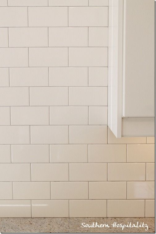 """Subway tile backsplash w/Medium gray grout, called """"Silver"""" from Lowes."""