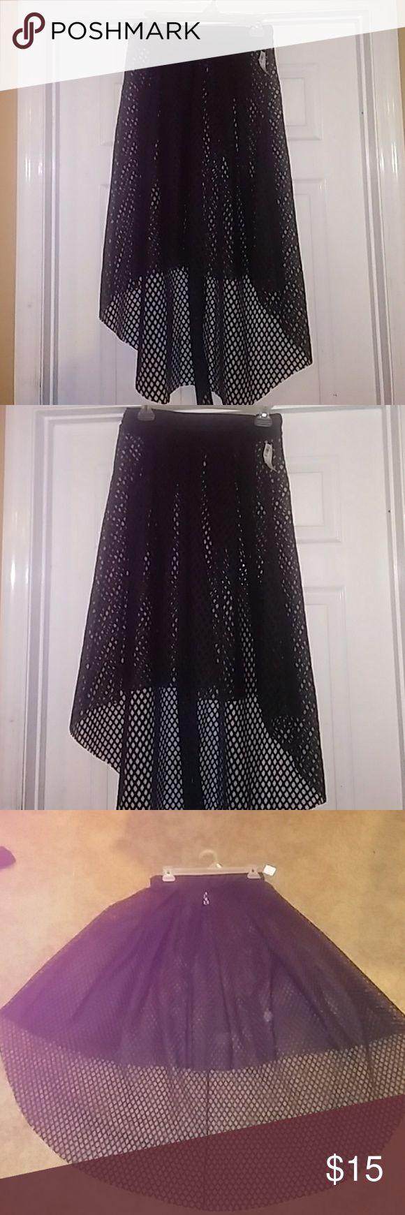 Black fishnet hi low skirt Black see thru hi low  skirt.. super sexy. Cute with short black skirt or black shorts underneath. Skirts High Low