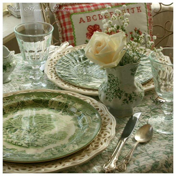 Aiken House & Gardens: Transferware Dishes. I love this for spring, and perfect for St. Patrick's Day table: