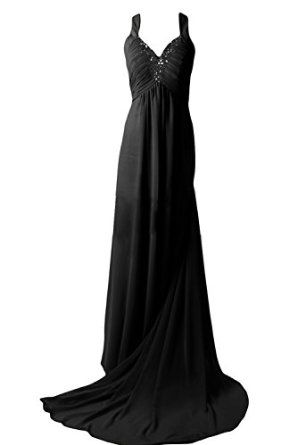 Sunvary Sexy Back Open Evening Dresses Prom Gown Chiffon with Rhinestones  Sunvary