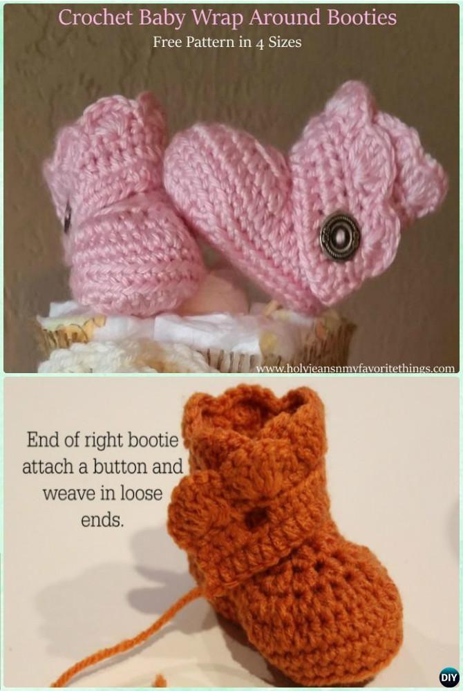 Crochet Wrap Around Baby Booties Free Pattern-Crochet Ankle High Baby Booties Free Patterns