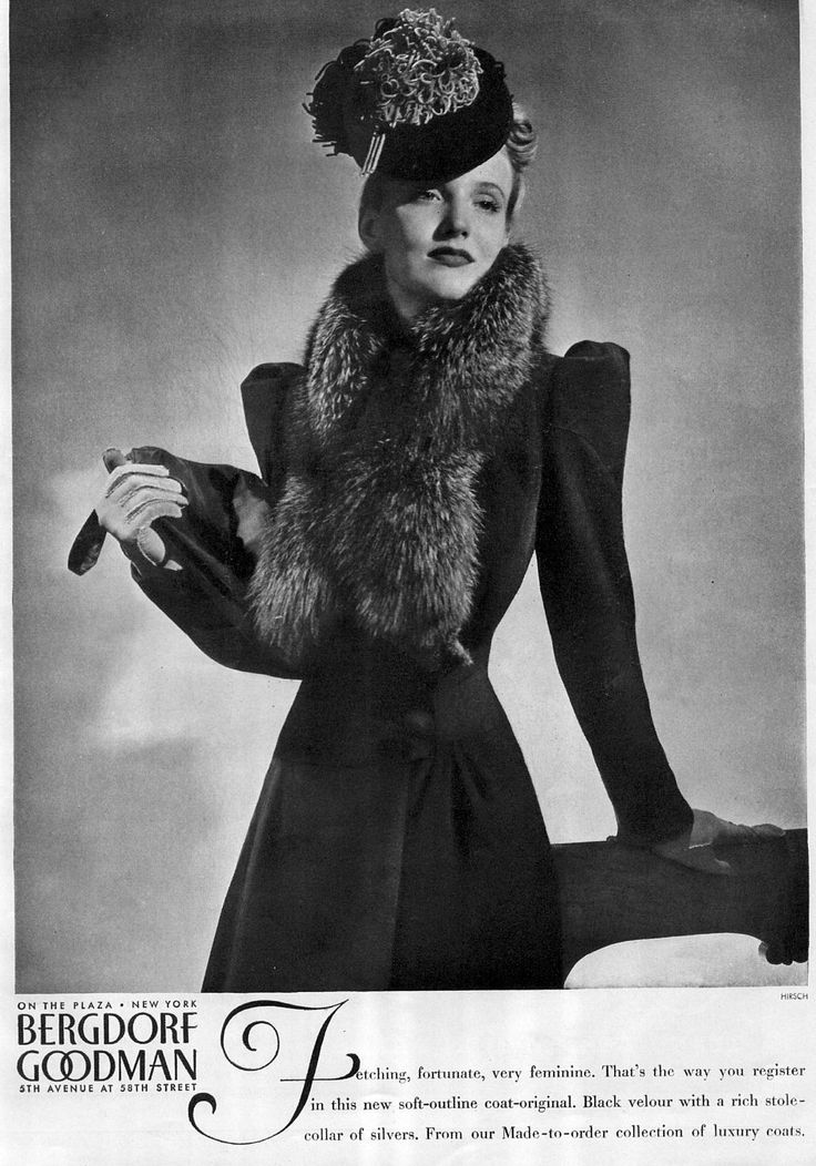 Bergdorf Goodman 1938 photo by Hirsch: Fashion 1930S, Vintage Fashion, 1938, 1930S Fashion, 1930 S, Bergdorf Goodman, Photo, Vintage Style, Vintage Clothing