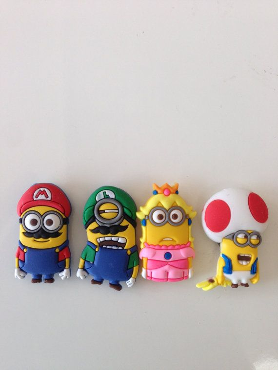 Brand New Set of 4 Custom Made Minion x Super Mario Brothers Magnets - Mario - Luigi - Princess - Toad Item Specifics: -3cm in height
