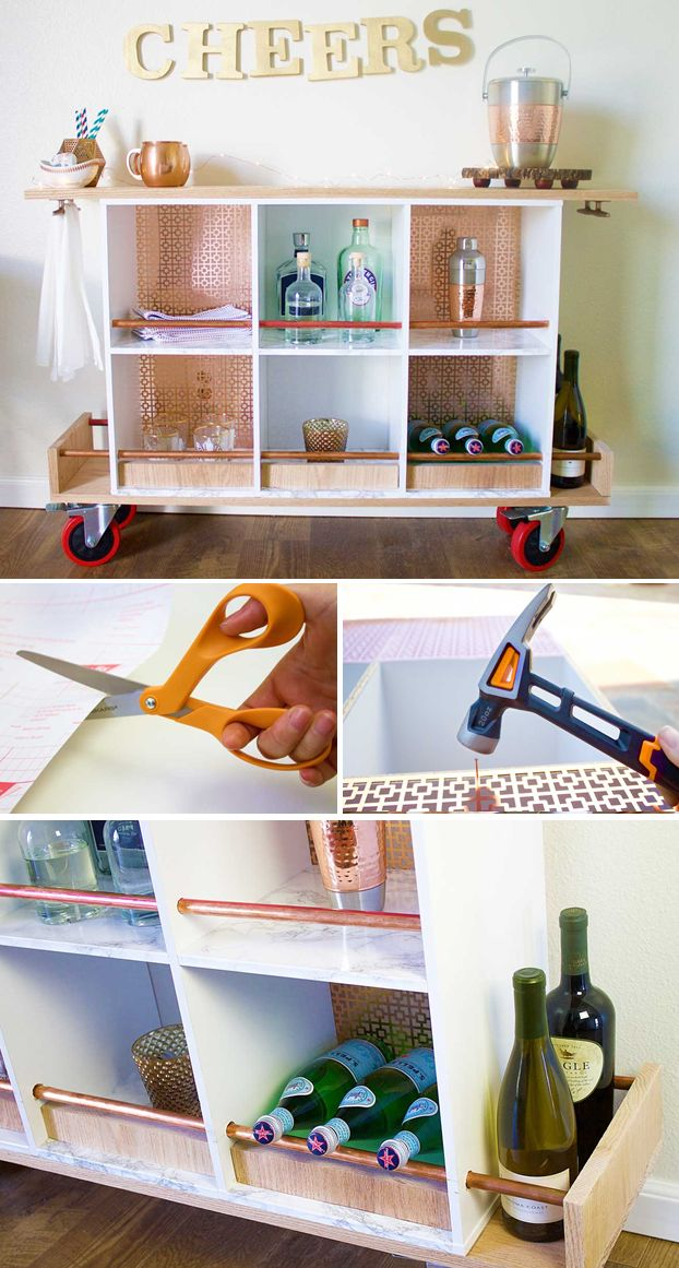 There's always a reason to celebrate! Put your DIY and styling skills to test by repurposing this bar cart out of a storage unit. #fiskars #diy #barcart #partydecor