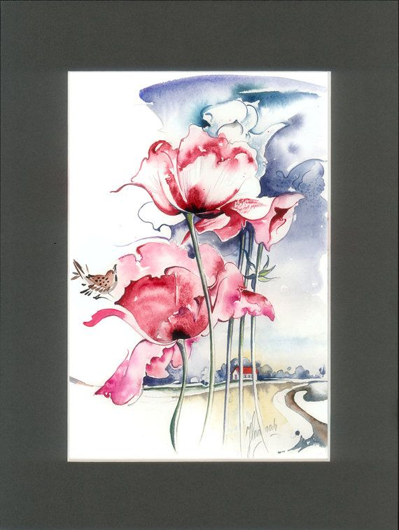 red poppies fantasy landscape little bird song by AnnaHannahArt