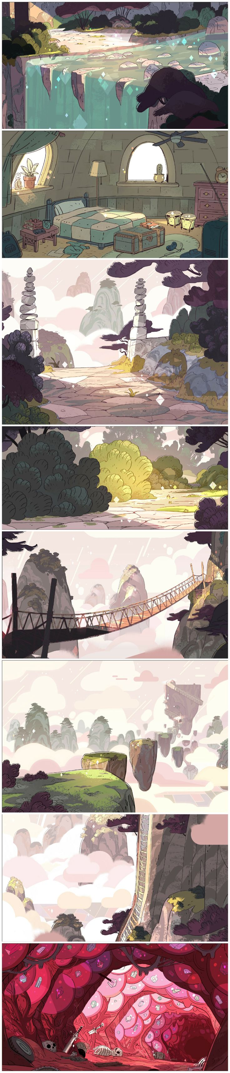 "A selection of Backgrounds from the Steven Universe episode: ""Giant Woman"" Art Direction: Kevin Dart Design: Sam Bosma Paint: Elle Michalka, Jasmin Lai"