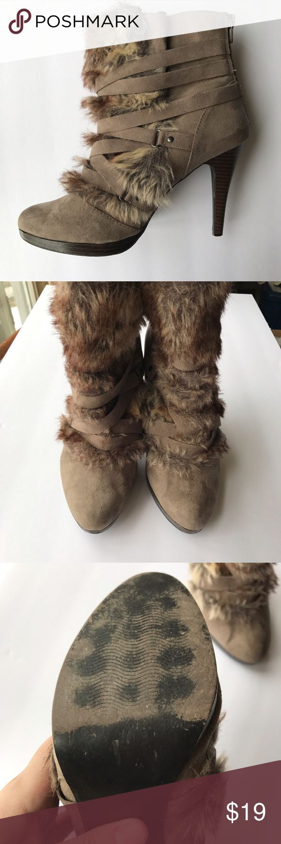 • ELLE • brown booties Gorgeous taupe colored booties with faux fur on the front. So comfortable and stylish! Sturdy heel on these elegant boots. They zip up in back. Some wear on the sole, as shown. Pretty shoes! Elle Shoes Ankle Boots & Booties