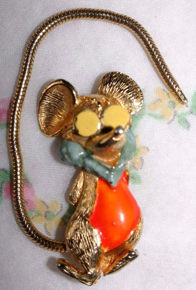 Vintage pin/brooch-Mouse-gold metal-orange chest-yellow sunglasses-long tail
