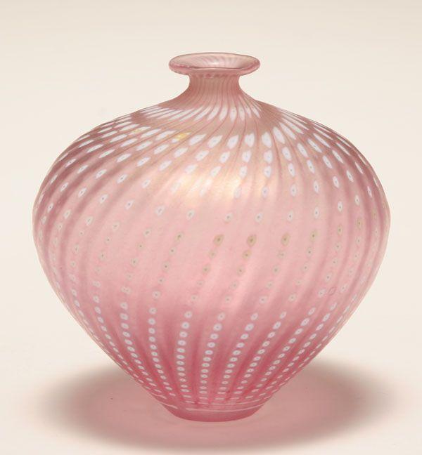 Bertil Vallien for Kosta Boda pink art glass vase with light iridescence.