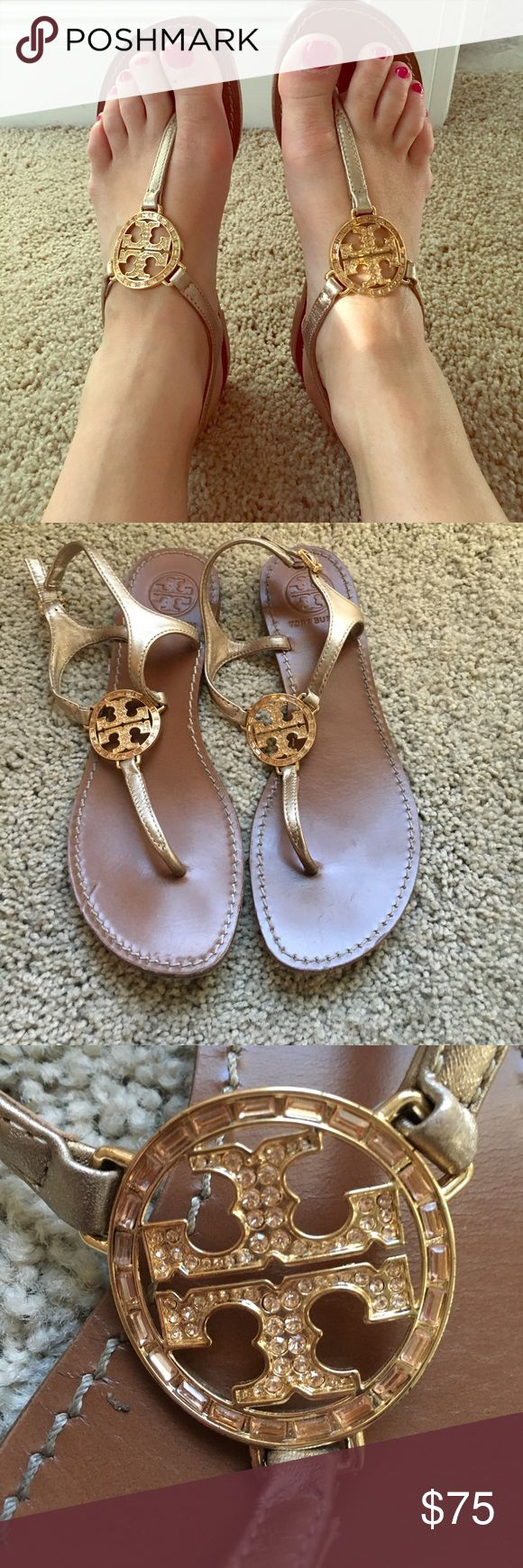 EUC Tory Burch flip flop sandals. Gold. Size 7. Excellent used condition Tory Burch Gold Flip Flop Sandals. Leather with metal TB Logo. No rips or stains on the leather. No tarnish or discoloration on metal logo. Bottoms of shoes show wear as pictured. These shoes are in great condition and are begging for a new home! Perfect for spring/ summer.   Authentic Tory Burch purchased from Nordstrom.  No trades. Only reasonable offers. Tory Burch Shoes Sandals