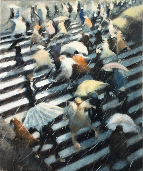 RA Summer Exhibition 2017 work 74: 74 - UMBRELLA CROSSING IV by Bill Jacklin RA, . #RASummer
