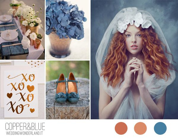 dusk blue and copper wedding inspiration board