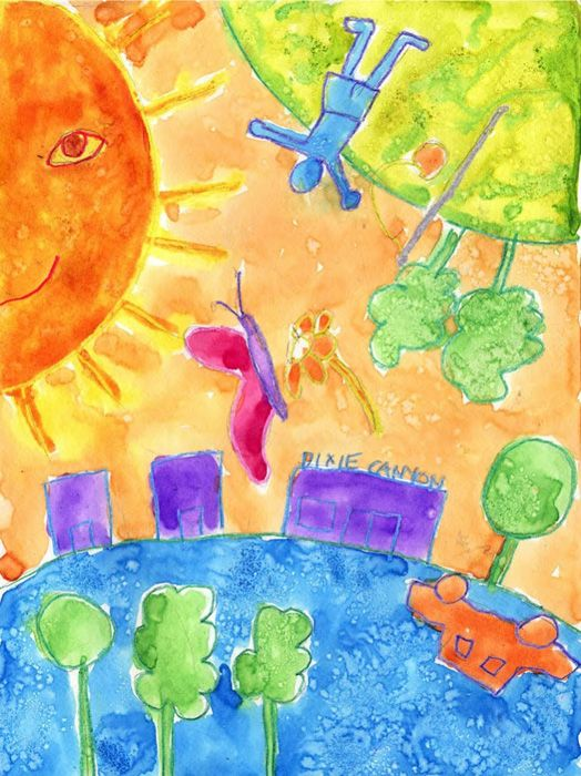 Chagall inspired watercolor. Have students draw their surroundings, just make them rotate around the paper. Easy way to make some dreamy artwork. #Chagall