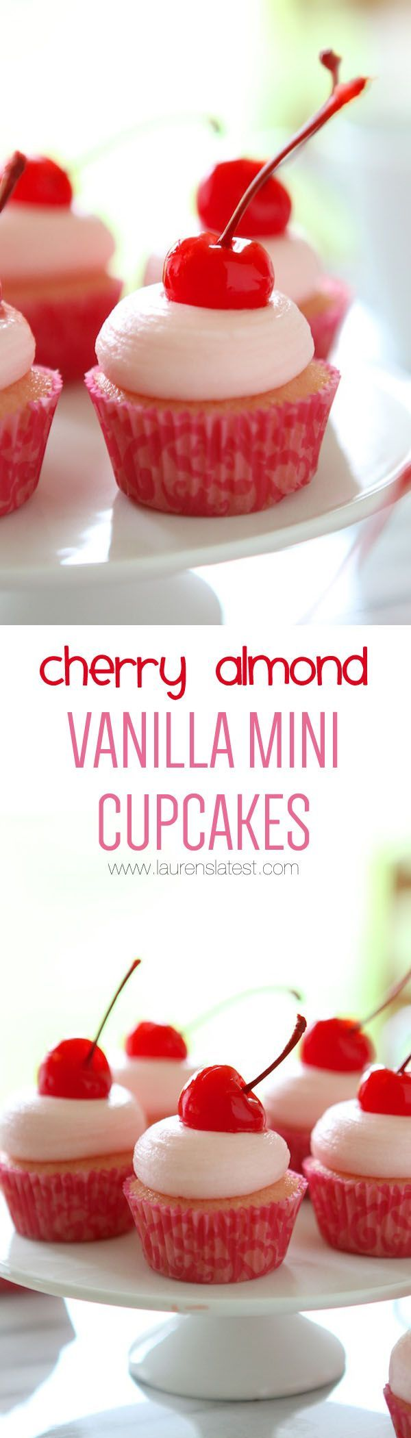 Cherry Almond Vanilla Mini Cupcakes... Aren't these just the cutest things ever? They'd be perfect for Valentine's Day!