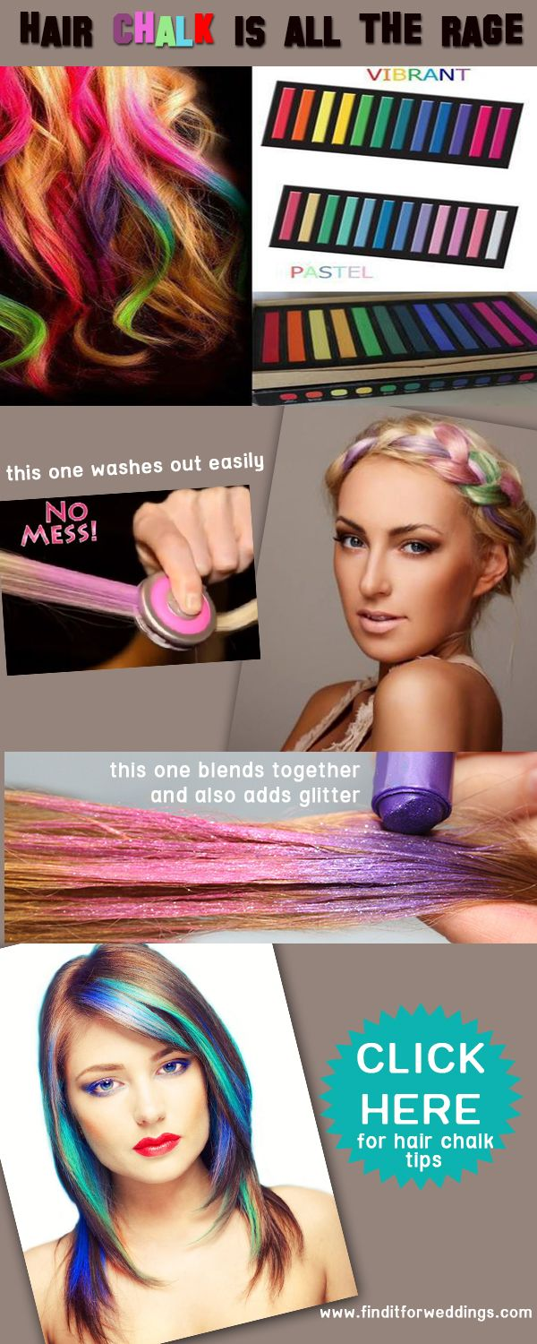 Hair chalk is an easy way to add temporary colour to your #hairstyles. Click the image for some great hair chalking tips #hairchalk www.finditforweddings.com
