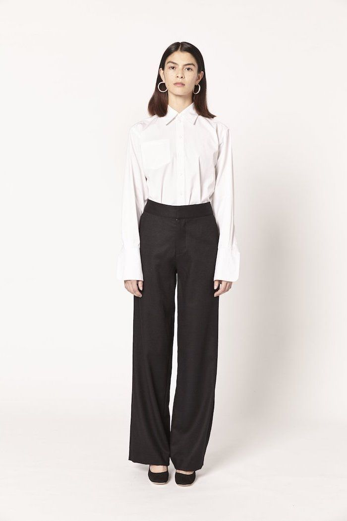 806866311b white shirt, black trousers, black velvet shoes, casual wear for women,  round earrings